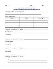 Fraction, Decimal, Percent Notes - Mrs. Johnson & Ms. Tye