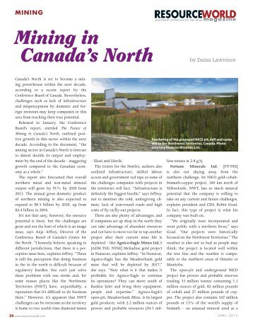 Mining in Canada's North - Fortune Minerals Limited