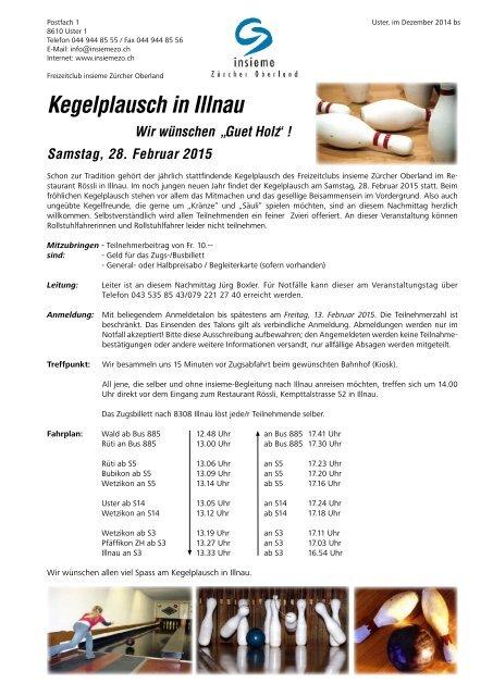 Kegelplausch in Illnau - insieme | Zürcher Oberland