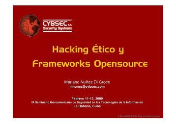 Hacking Ético y Frameworks Opensource - Cybsec