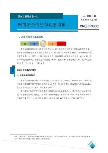 网络安全信息与动态周报-2011年第23期 - 国家互联网应急中心