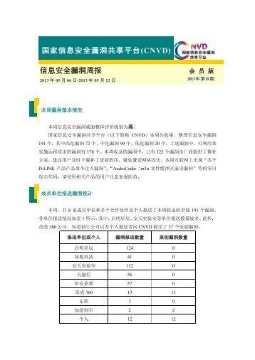 (CNVD)周报-2013年第19期 - 国家互联网应急中心