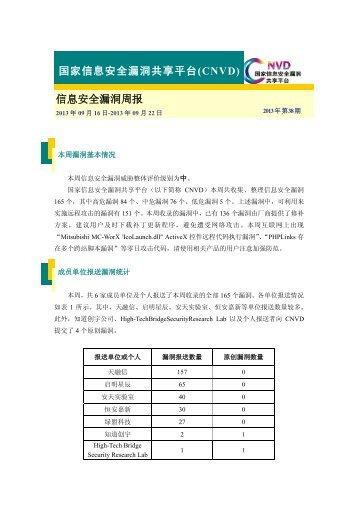 (CNVD)周报-2013年第38期 - 国家互联网应急中心