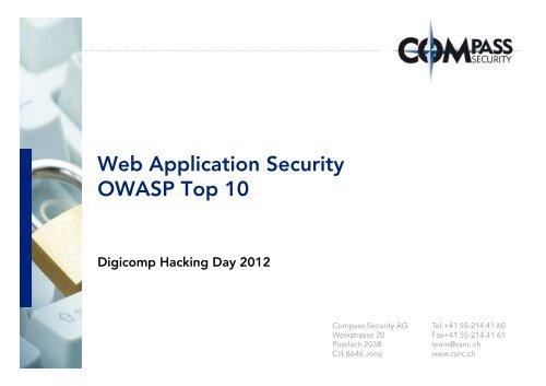 Web Application Security OWASP Top 10 OWASP     - Hacking-Lab
