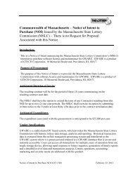 Notice of Intent to Purchase (NOI) - Massachusetts Lottery