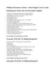 Williams Elementary School – School Supply List by Grade ...