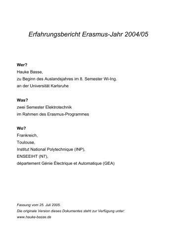 Erfahrungsbericht Erasmus-Jahr 2004/05 - von Hauke Basse