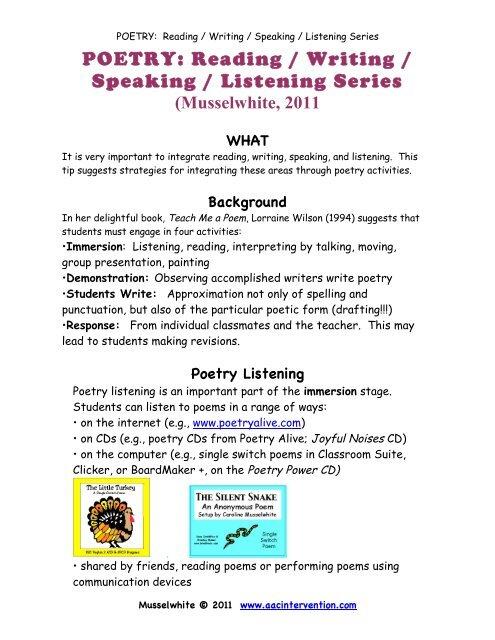 Poetry Read Write Spek Listen - AAC Intervention com