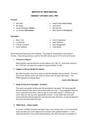 MINUTES OF FMSA MEETING MONDAY 14TH MAY 2012, 7PM