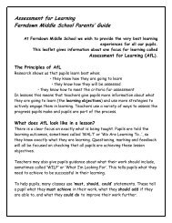 Assessment for Learning Parents' Guide - Ferndown Middle School