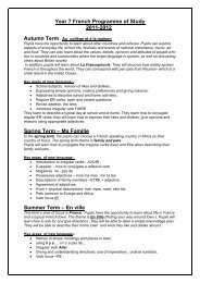 Programme of Study Years 7 & 8