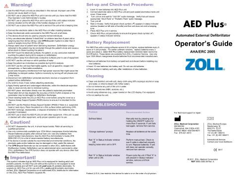 Zoll Aed Plus Operator S Guide
