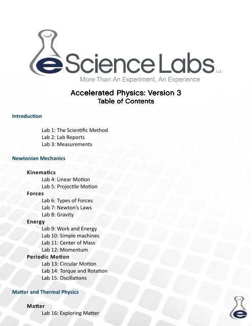 Accelerated Physics Version 3 TOC - eScience Labs