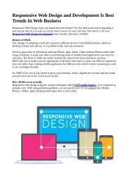Responsive Web Design and Development Is Best Trends In Web Business