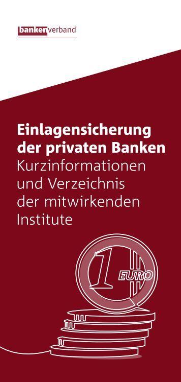 Einlagensicherung der privaten Banken - Kurzinformationen