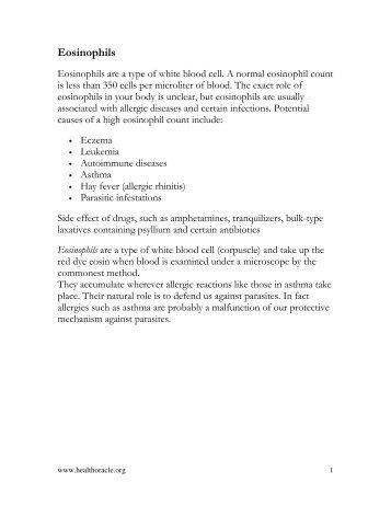 Eosinophils - Healthoracle.org