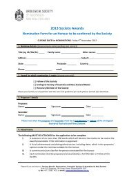 2013 Society Awards Nomination Form for an Honour to be ...