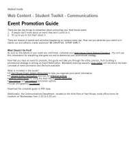Student Toolkit - Communications Event Promotion ... - Hart House