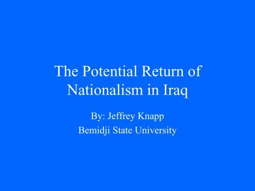Jeff Knapp on Iraqi Nationalism and Sectarianism