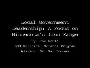 Joe Gould's presentation on Leadership, Networks and the Iron Range
