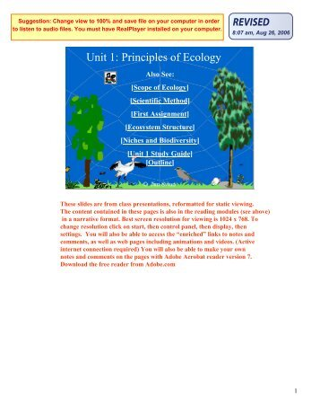 Unit 1: Principles of Ecology - Classvideos.net