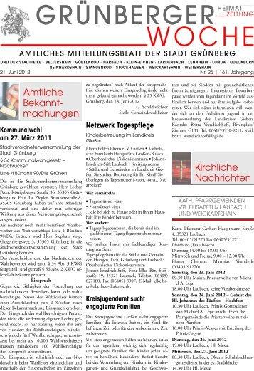 Grünberger Woche vom 21. Juni 2012