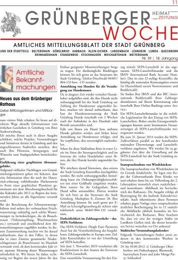 Grünberger Woche vom 27. September 2012 - Grußwort ...