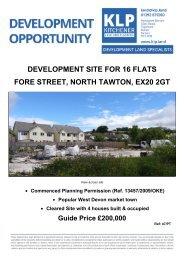 DEVELOPMENT SITE FOR 16 FLATS FORE STREET, NORTH TAWTON, DEVON