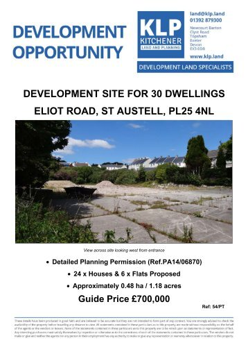 DEVELOPMENT SITE FOR 30 DWELLINGS ELIOT ROAD, ST AUSTELL, CORNWALL