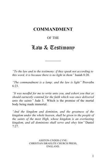 Law & Testimony - Christian Israelite Church