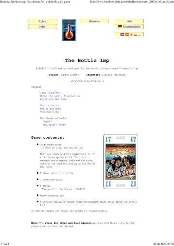 Bambus Spieleverlag: Flaschenteufel - a diabolic card game