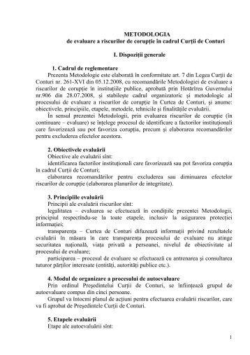 METODOLOGIA de evaluare a riscurilor de corupţie în cadrul Curţii ...