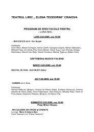"""teatrul liric """" elena teodorini"""" craiova program de spectacole pentru"""