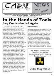CADU News 14 - Campaign Against Depleted Uranium