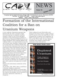 CADU News 16 - Campaign Against Depleted Uranium