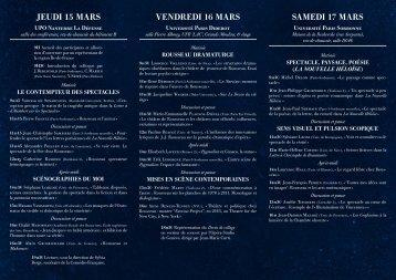 Rousseau et le spectacle 15 au 17 mars. - Recherches sur Diderot ...