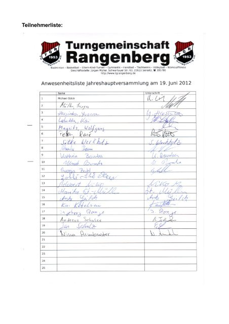 Berichtsheft - Turngemeinschaft Rangenberg eV