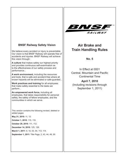 Air Brake And Train Handling Rules UTU Local 1405