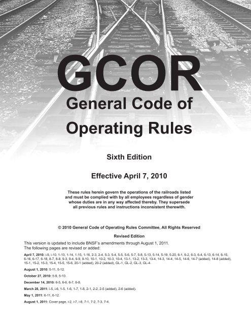 BNSF GCOR Rules 8 1 2011 UTU Local 1405