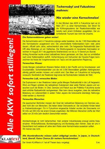 Flugblatt zur Broschüre - Verein KLARtext eV