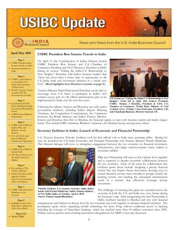 April/May 2010 Newsletter - U.S.-India Business Council