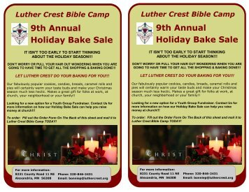 9th Annual Holiday Bake Sale 9th Annual Holiday ... - Luther Crest