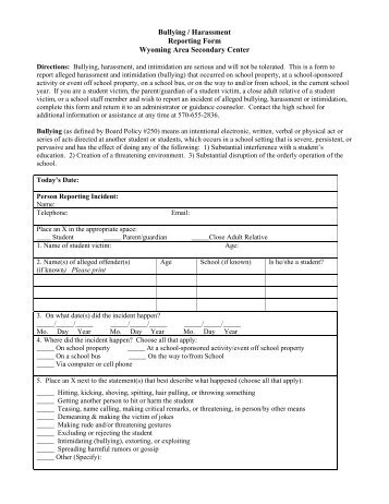 Bullying/Harassment Incident Report - Wyoming Area School District