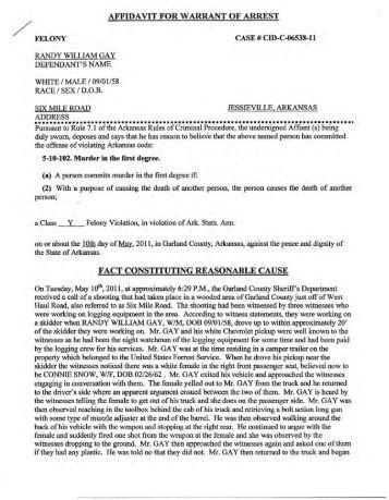 arrest warrant affidavit document sample