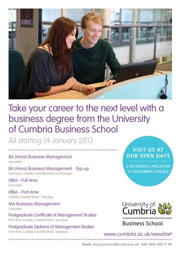 January Start Business School booklet - University of Cumbria