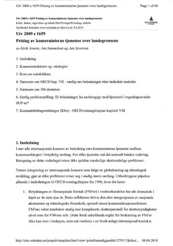 Prising av konserninterne tjenester over landegrensene - Kluge