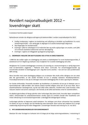 Revidert nasjonalbudsjett 2012 – lovendringer skatt - Kluge