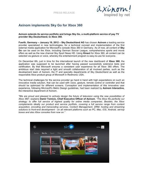 Press release: Axinom implementes Sky Go for Xbox 360