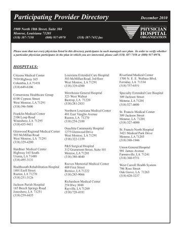 Provider Directory Dec 2010.pmd - Northeast Louisiana Physician ...