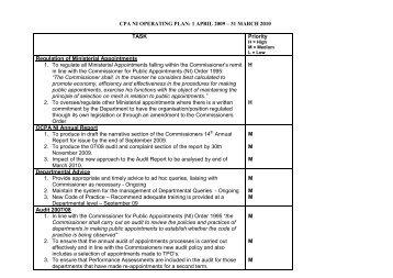 CPA NI OPERATING PLAN: 1 APRIL 2009 – 31 MARCH 2010 TASK ...